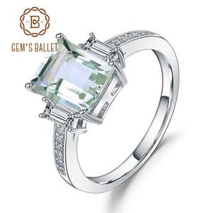 Gem'S Ballet 4.1 ct натуральный зеленый аметист обручальное кольцо подлинная 925 стерлингового серебра драгоценные камни кольца для женщин ювелирные изделия J 190430