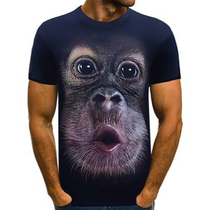 2020 new three-dimensional orangutan crew neck short sleeve T-shirt for men 3D printing personality trend men's autumn winter T-shirt