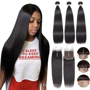 Sapphire Straight Bundly Wit Closury Brazilian Haire Weave Bundlt Wity Closurm Human Hairy Bundles With Closure Hair Extension