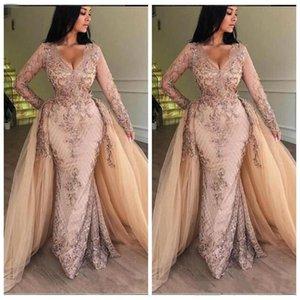 2020 새로운 V 목 레이스 공주 댄스 파티 드레스 긴 소매 얇은 명주 그물 새해 바닥 길이 정장 파티 이브닝 드레스와 분리 스커트 bc0179