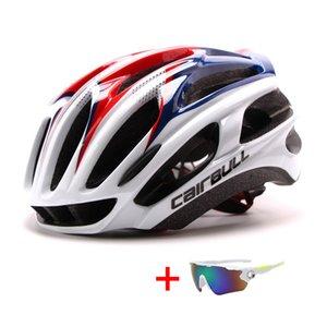 المهنية للفروسية سباق الدراجات خوذة مع النظارات الشمسية الرجال النساء طريق جبل خوذة دراجة خفيفة MTB دراجة خوذة