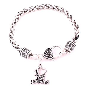 I Love My Husband Heart Charm Pendent For Woman Bracelet Wheat Chain Jewelry