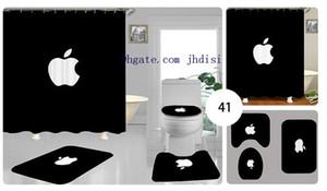 Пары домашний антискользящий туалет ковер коврик для ванной комнаты набор мягкий чехол для сиденья унитаза 3шт занавески для душа коврик для ванной творческий дизайн Apple CurtainJH01