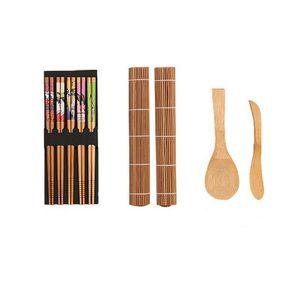 Diy Bamboo Sushi Fazendo Kit 2 pares 5 Mats rolamento indicados Espalhador de arroz Chopsticks Cozinha Ferramentas Gadgets Jantar Casa Loja