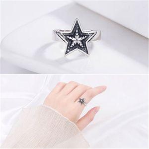패션 17mm five-pointed 스타 남자와 여자 액세서리 보석에 대 한 열기 조절 반지 실버 반지 선물