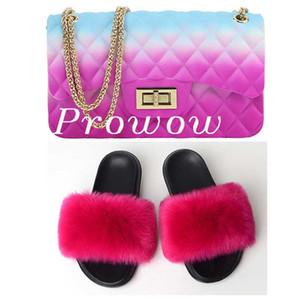 Fur diapositive Slipper e colorati Crossbody Bag Set Jelly Borse con pistone calza Imposta Donne Borsello in pelliccia Slides
