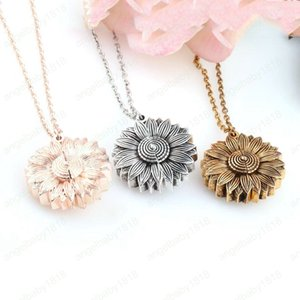 Подсолнечное Медальон ожерелья Вы My Sunshine гравировка ожерелье подсолнечник может открыть кулон ключицы цепи подарок партии новое