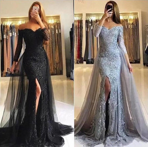 Elegant Off the Shoulder Prom Dresses Long Sleeves Lace Applique Overskirt Train Tulle Side Slit Mermaid Evening Party Gowns Plus Size