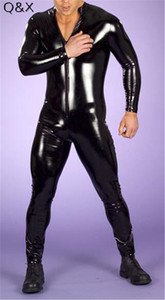Sexy Lingerie Men PU Catsuit Faux Leather Front Zipper Crotch 2020 Bodysuit Fetish Costumes Erotic Lingerie Plus Size