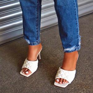 MHYONS Vintage bout carré Slipper Sandales Femmes solides vichy talon haut Sandales pour dames talon bloc pour femmes Chaussures femmes
