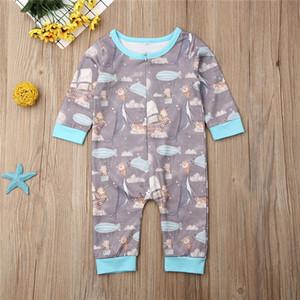 0-24months Bebek Giyim Dolphin Tilkiler Hayvan Bebek Boys Rompers Küme için Bebek Boys tulum İlkbahar Sonbahar Tek Parça tulum yazdır