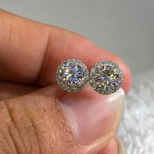 Choucong nuova vendita calda di lusso gioielli in argento sterling 925 taglio rotondo bianco chiaro 5a zirconi cubici popolare partito donne orecchini da sposa