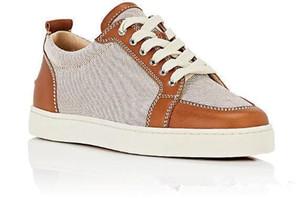 Hot Sale - preto, couro branco dos homens Plano Low Top Red inferior Sneakers Homens Marca Mulheres partido Lazer Outdoor Famous Shoes EU35-46 d09