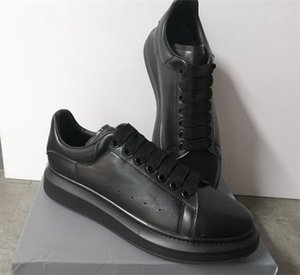 Zapatos de diseñador de moda 100% Piel de becerro Hombres Zapatillas de deporte de gran tamaño Mujeres de lujo Zapatillas de plataforma plana Suela de goma de gran tamaño wirh Box US 11