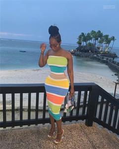 Strapless do arco-íris vestidos longos Moda Feminina Holidays Beach Dress Verão Feminino Painéis Bodycon vestido de mulher