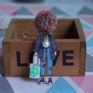 Fashion Brooch Pins for Woman Brooches Girls Face Cartoon Models Acrylic Brooches Kawaii Pompom Clothing Jewelry Accessories