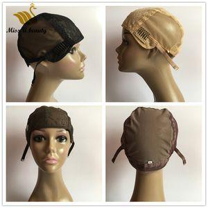 Dantel Peruk Cap Klipleri Ayarlanabilir sapanlar ile Peruk Tam Dantel Ön Dantel El Yapımı Saç Peruk Siyah Sarışın Kahverengi Peruk Caps yapma için