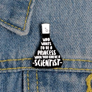 Científico Vaso de esmalte pernos Enfriar Negro Ciencias Químicas Placa de medición joyería personalizada Copa broches de solapa para el amigo