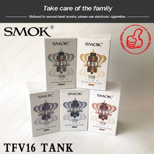 SMOK TFV16 Sous-ohms Mesh réservoir avec TFV16 Mesh double Mesh Bobines Top remplissage Capacité 9ml V16 Atomiseur bûchers tube en verre 100% authentique