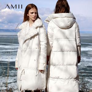 Amii minimalista de pato blanca en la chaqueta del invierno mujeres solapa sólido Escudo 11980077 Mujer gruesa abajo Largo