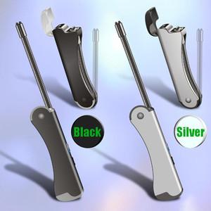 caldo Doppio Arco Igniter Accendino Tubo pieghevole di ricarica USB di personalità portasigarette in metallo accenditore elettronico logo personalizzato di accensione strumento per la cucina