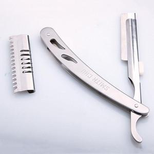 Afiada Durável Faca de Corte De Cabelo Homens Confortável Prata Manual de Barbear Lâminas de Aço Inoxidável Profissional Unisex Portátil Navalha DH0849