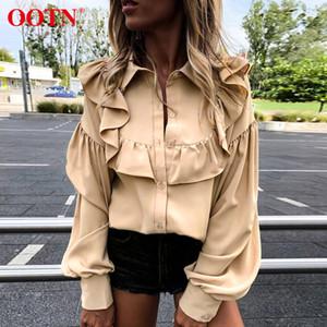OOTN элегантный рябить блузка рубашка женщины фонарь рукав жабо женские топы Осень Зима дамы офис блузка кнопки мода 2019