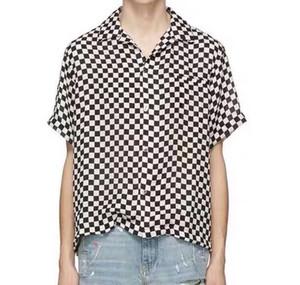 Designer T-shirt HFKYTX017 de Casais Estilo Retro 19SS Europeia Tee High Street Preto e Branco manta de manga curta Mulheres Homens