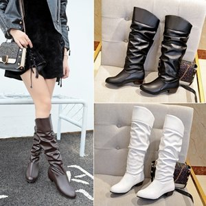 Women Boots Knee High Boots Leather Slip On Low Heel Autumn Female Shoes Solid Plus Size 43 Botas Mujer dfv67