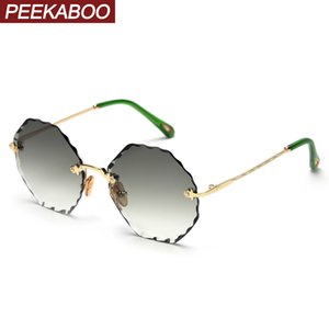 Прятки женщины дамы безободковых очки полигональные типа лета круглый восьмиугольной ВС очки зеленый коричневый розовый металл T200106