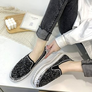 Shoes Woman 2020 All-Match Casual Female Sneakers Women Crystal Platform Round Toe Loafers With Fur