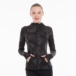 Vente en gros détail femmes Yoga Veste manches longues élastiques sportif Manteau Vêtements de running Fitness demi fermeture éclair Slim Jacket