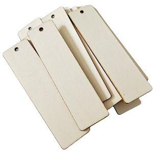Etiqueta en blanco de madera sin terminar las etiquetas del equipaje de recuerdos etiquetas 12x3.2cm rectángulo de madera Tag actual partido del vino de la decoración DIY Craft Adornos