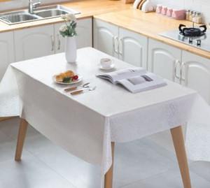 Jetables en plastique mariage rose Nappe blanche Vaisselle de fête d'anniversaire Table couverture Rectangle bureau Couvre Nappe Nouvel An
