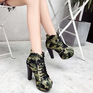 botas de moda de camuflaje de las mujeres de la venta caliente botas de tobillo de la venta caliente de verano 10cm hign zapatos de tacón sexy estilo favorito frente Internet Celebrity TY-0
