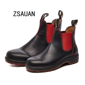 ZSAUAN Plus Size 36-44 Men's Boots Casual Unisex Shoes Spring Autumn Black Leather Ankle Booties Women Chukka Boots