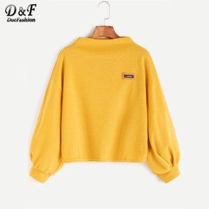Dotfashion Funnel Neck Laternenärmel Patch Solide Sweatshirt Frauen 2017 Neue Kawaii Herbst Gelb Pullover Sweatshirt