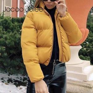 Jocoo Jolee Mode Manteau Bulle solide col standard surdimensionné Veste courte Automne Hiver Femme Doudoune Parkas Mujer
