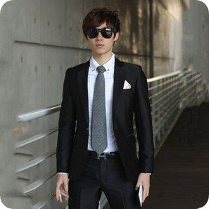 Новейшие проекты Черные мужские костюмы Свадебные мужские пиджаки Куртка Формальные смокинги для жениха 2шт (Пальто + брюки) Нежный деловой костюм Костюм Homme Ternos