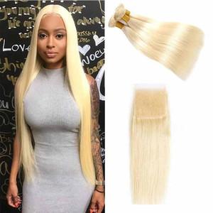613 Blonde 3 Paquetes con cierre de cordón del pelo recto humano Cierre frontal brasileño Remy onda del cuerpo con paquetes baratos 613 tramas del pelo rubio