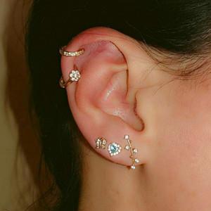 3 Define Folhas cinzeladas ouvido Helix cartilagem brinco Falso Nariz Anel Tragus Piercing Jóias