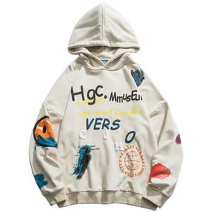 Januarysnow 2.019 hombres Hip Hop con capucha de Streetwear Harajuku pintada con capucha suéter cara de la sonrisa HipHop flojo con capucha Monopatín otoño