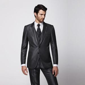 Gli uomini si adattano all'ultima moda come il miglior abito da uomo Risvolto picco grigio scuro 3 pezzi Groomsman / Sposo Wedding