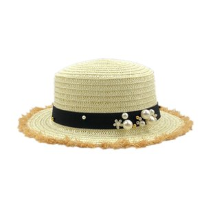 Lovely Flat Top Straw Hat Summer Spring Women'S Trip Caps Leisure Pearl Beach Sun Hats Breathable Fashion Flower Girl Hat #1