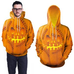 Halloween pumpkin print hoodie hooded pullover men women 3D Skull print Fall Winter Male Female coat outwear sweatshirt Wholesale JY767