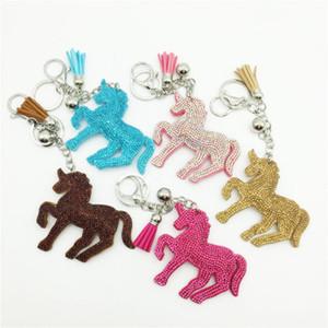 faroot 2,018 Mais novos encantos Arrivals Sorte Unicorn cavalo de cristal Keychain bolsa pingente chaveiro com Tassel