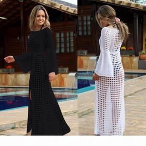 Women's Beach Bikini Cover up Long Kaftan Dress Summer Boho Maxi Dress Swimwear Mesh See-Through Beach Sundress Swimming
