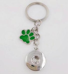 Enamel Dog Cat Paw Prints 18mm Snaps Button Keychain Charm Key Chain For Keys Car Key Ring Souvenir Couple Handbag Key Chain