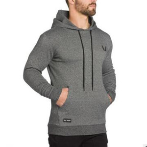 2019 Sportswear Men Gyms Casual Fashion Bodybuilding Sweatshirt round neck Male Solid color Hooded Hoodies Pullover Hoody clothing