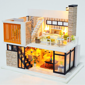 Double-Story DIY Doll House New Furniture Wooden Miniature Doll Houses With Dust-proof Cover Handmade Craft Toys for Children